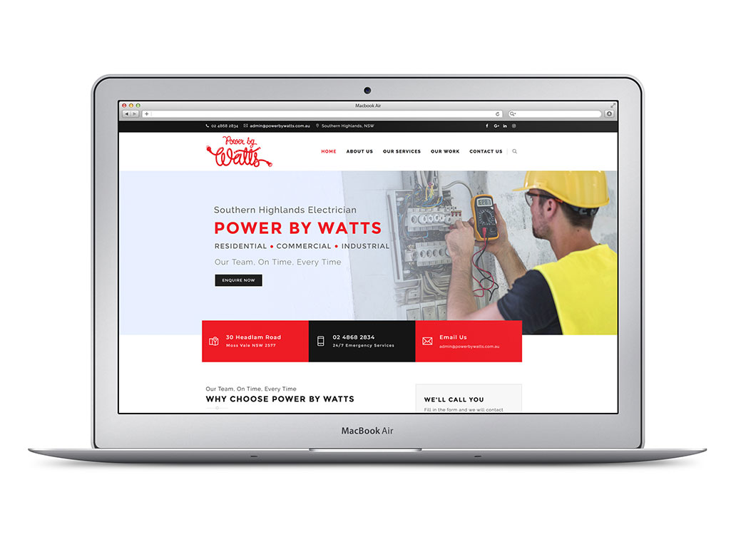 Power by Watts website, Banter Group, Marketing Agency