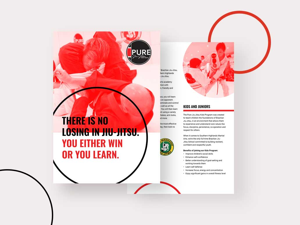 Pure Jui Jitsu flyer design, Banter Group, Marketing Agency