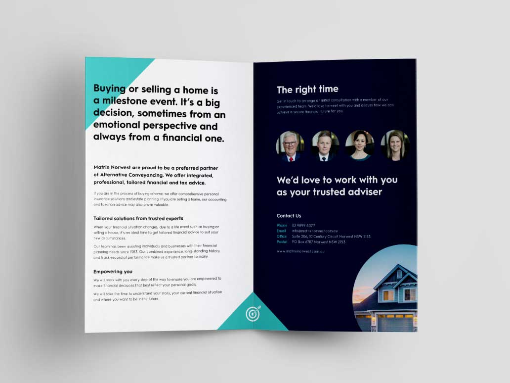 Matrix Norwest Brochure Design, Banter Group, Marketing Agency